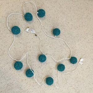 Other - Hanging Rosette Globe String Lights in Teal Blue